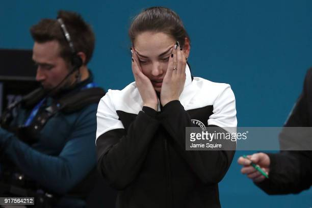 Anastasia Bryzgalova of Olympic Athletes from Russia reacts after defeating Norway to win the bronze medal during the Curling Mixed Doubles Bronze...