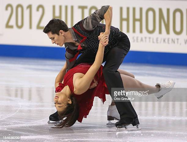 Anastasia Cannuscio and Colin McManus skate in the free dance during the Skate America competition at the ShoWare Center on October 21 2012 in Kent...