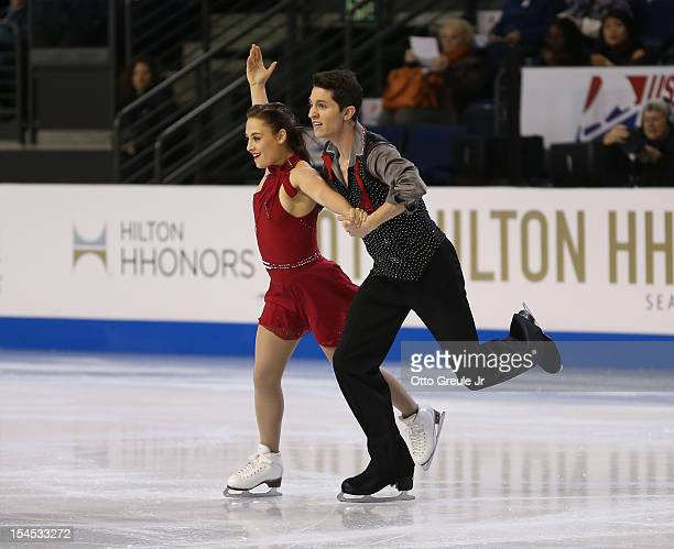 Anastasia Cannuscio Colin McManus skate in the free dance during the Skate America competition at the ShoWare Center on October 21 2012 in Kent...