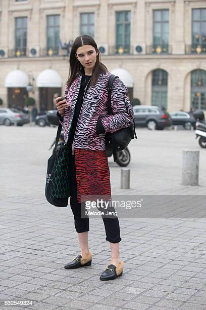 Anastasia Chekry wears Gucci shoes outside the Francesco Scognamiglio show at a ShangriLa hotel on January 23 2017 in Paris France