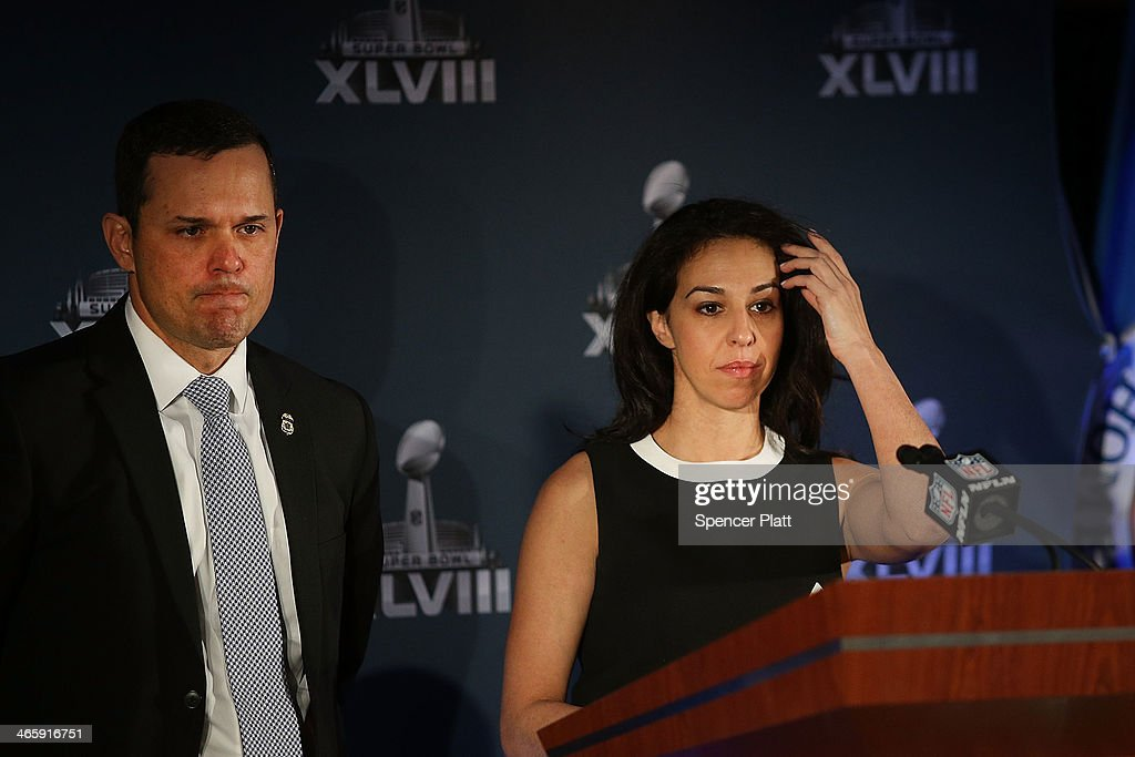 Anastasia Danias, Vice President for Legal Affairs, National Football League and John Sandweg, Acting Director, U.S. Immigration and Customs Enforcement, speak at a news conference on the latest seizure of counterfeit sports-related merchandise leading up to Super Bowl XLVIII on January 30, 2014 in New York City. Officials from the National Football League, U.S. Immigration and Customs Enforcement and U.S. Customs and Border Protection displayed recently confiscated items while also showing phony websites that have been set-up to sell Super Bowl XLVIII merchandise. Counterfeit sports merchandise, much of which originates in China, is a multi million dollar industry.