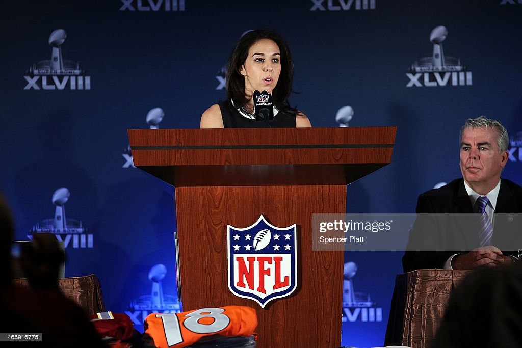 Anastasia Danias, Vice President for Legal Affairs, National Football League speaks at a news conference on the latest seizure of counterfeit sports-related merchandise leading up to Super Bowl XLVIII on January 30, 2014 in New York City. Officials from the National Football League, U.S. Immigration and Customs Enforcement and U.S. Customs and Border Protection displayed recently confiscated items while also showing phony websites that have been set-up to sell Super Bowl XLVIII merchandise. Counterfeit sports merchandise, much of which originates in China, is a multi million dollar industry.