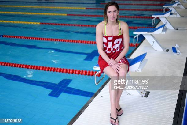 Anastasia Fesikova attends an interview with AFP in a swimming pool in the town of Obninsk in the Kaluga region about 100 kilometres from Moscow on...