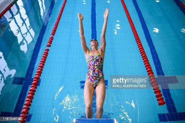 Anastasia Fesikova trains in a swimming pool in the town of Obninsk in the Kaluga region about 100 kilometres from Moscow on December 3 2019 Silver...