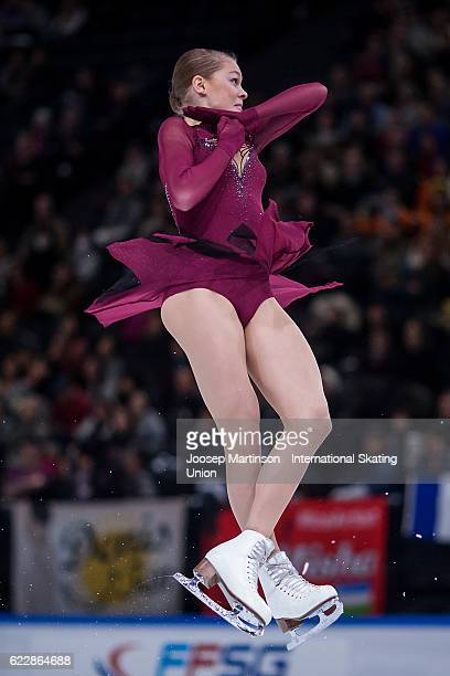 Anastasia Galustyan of Armenia competes during Ladies Free Skating on day two of the Trophee de France ISU Grand Prix of Figure Skating at...
