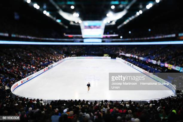 Anastasia Galustyan of Armenia competes in the Ladies Free Skating during day three of the World Figure Skating Championships at Hartwall Arena on...