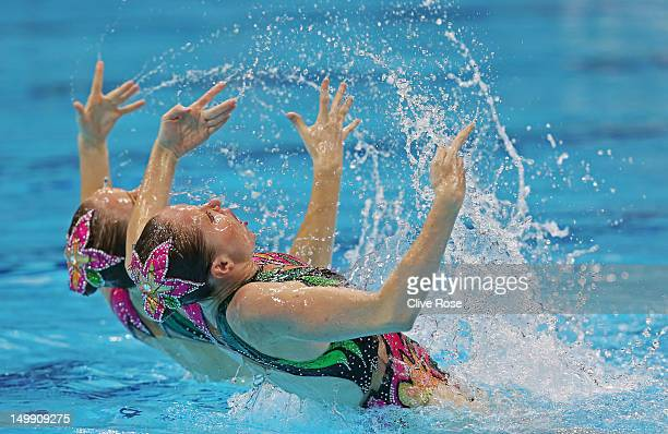 Anastasia Gloushkov and Inna Yoffe of Israel compete in the Women's Duets Synchronised Swimming Free Routine Preliminary on Day 10 of the London 2012...