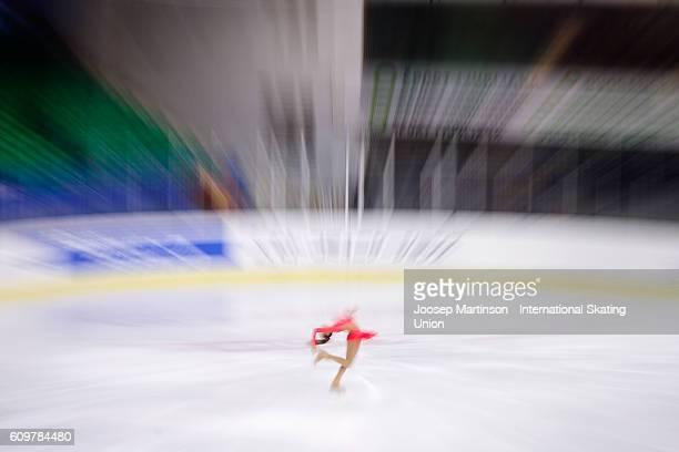 Anastasia Gozhva of Ukraine competes during the Junior Ladies Short Program on day one of the ISU Junior Grand Prix of Figure Skating on September...