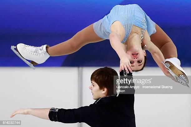 Anastasia Gubanova and Alexei Sintsov from Russia skate during their show at the Pair«s Free Skating program of the ISU World Junior Figure Skating...