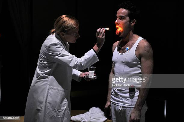 Anastasia Hille as Dr James and Jonjo O'Neill as Tristan in Lucy Prebble's The Effect directed by Rupert Goold at the National Theatre in London