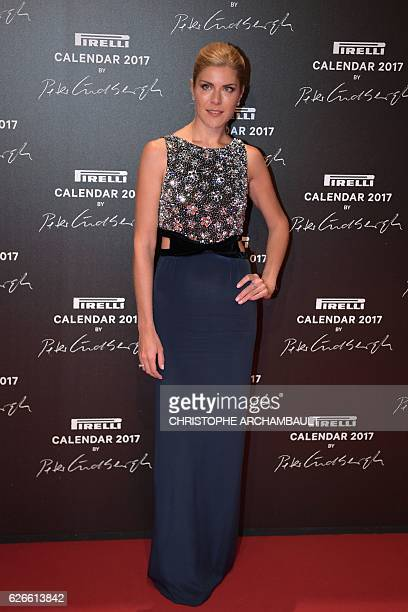 Anastasia Ignatova poses during a photocall ahead of a gala dinner held for the international launch of the 2017 Pirelli calendar at the Cite du...