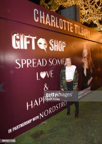 Anastasia Karanikolaou attends the Charlotte Tilbury Holiday PopUp at The Grove on December 4 2017 in Los Angeles California