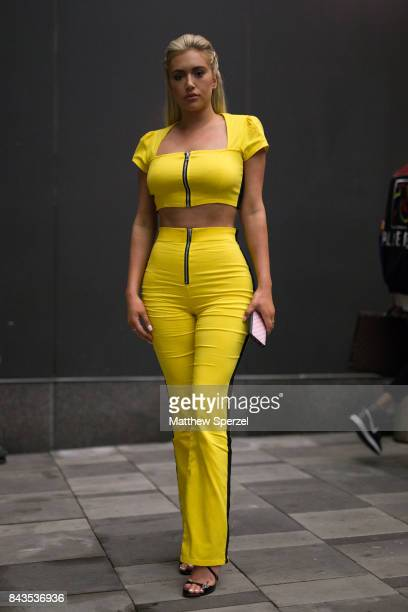 Anastasia Karanikolaou is seen attending VFILES during New York Fashion Week wearing a yellow outfit on September 6 2017 in New York City