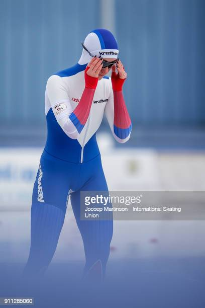 Anastasia Korkina of Russia competes in the Ladies 500m during day two of the ISU Junior World Cup Speed Skating at Olympiaworld Ice Rink on January...