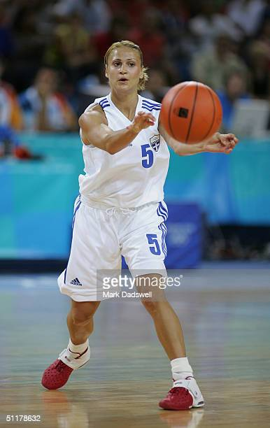 Anastasia Kostaki of Greece passes the ball in the women's basketball preliminary game against Russia on August 14 2004 during the Athens 2004 Summer...