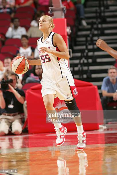 Anastasia Kostaki of the Houston Comets brings the ball upcourt during the game against the Chicago Sky on June 2 2006 at Toyota Center in Houston...