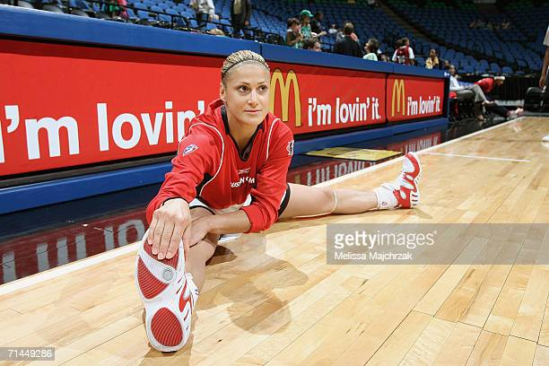 Anastasia Kostaki of the Houston Comets does streches during pregame warm up before a game against the Minnesota Lynx on June 11 2006 at the Target...