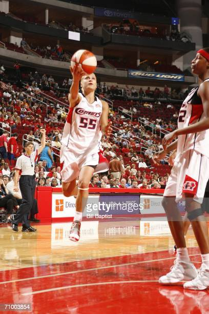 Anastasia Kostaki of the Houston Comets shoots against the San Antonio Silver Stars on May 21 2006 at the Toyota Center in Houston Texas NOTE TO...