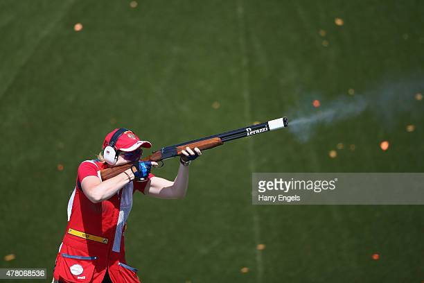 Anastasia Krakhmaleva of Russia competes in the Mixed Team Skeet Qualification Round during day ten of the Baku 2015 European Games at the Baku...