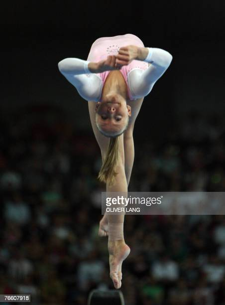 Anastasia Liukin of the US competes on the beam during the women's apparatus final on the beam of the 40th World Artistic Gymnastics Championships 09...
