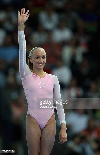 Anastasia Liukin of the US stands on the podium after the women's apparatus final on the beam of the 40th World Artistic Gymnastics Championships 09...