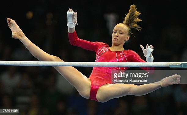 Anastasia Liukin of the US wins the Silver Medal in the women's Uneven Bars final of the 40th World Artistic Gymnastics Championships on September 8...