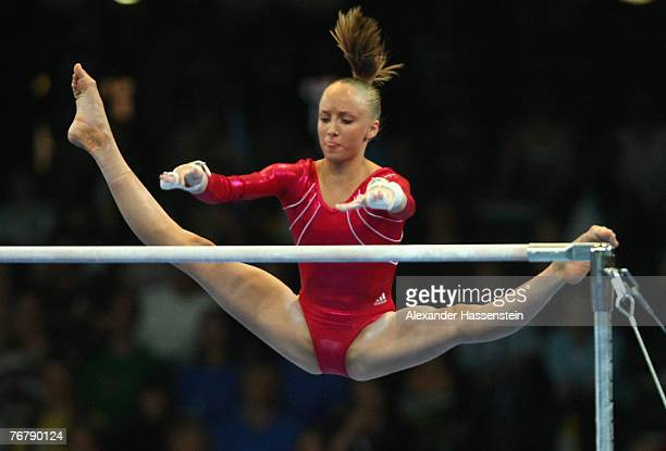Anastasia Liukin of the US wins the Silver medal in the womens Uneven Bars final of the 40th World Artistic Gymnastics Championships on September 8...