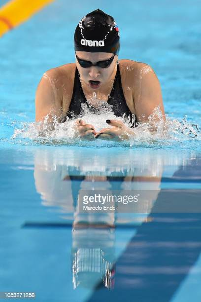 Anastasia Makaova of Russia competes in the Women's 100m Breaststroke Final during Day 4 of Buenos Aires 2018 Youth Olympic Games at Aquatics Center...