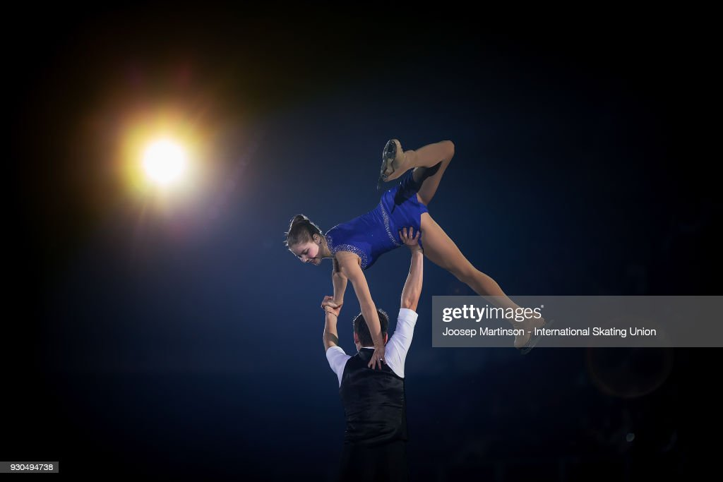 Anastasia Mishina and Aleksandr Galiamov of Russia perform in the Gala Exhibition during the World Junior Figure Skating Championships at Arena Armeec on March 11, 2018 in Sofia, Bulgaria.
