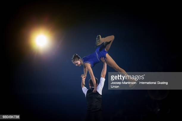 Anastasia Mishina and Aleksandr Galiamov of Russia perform in the Gala Exhibition during the World Junior Figure Skating Championships at Arena...