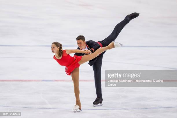 Anastasia Mishina and Aleksandr Galliamov of Russia compete in the Junior Pairs short program during the ISU Junior Grand Prix of Figure Skating at...