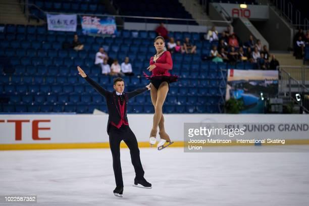 Anastasia Mishina and Aleksandr Galliamov of Russia compete in the Junior Pairs Free Skating during the ISU Junior Grand Prix of Figure Skating at...