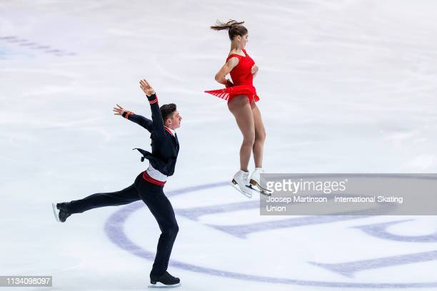 Anastasia Mishina and Aleksandr Galliamov of Russia compete in the Junior Pairs Short Program during day 1 of the ISU World Junior Figure Skating...
