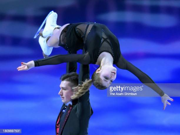Anastasia Mishina and Aleksandr Galliamov of Russia perform during the Gala Exhibition on day five of the ISU World Figure Skating Championships at...