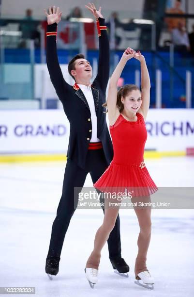 Anastasia Mishina and Aleksandr Galliamov of Russia skate in the junior pairs short program during the 2018 Junior Grand Prix of Figure Skating on...