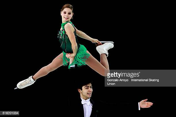 Anastasia Mishina and Vladislav Mirzoev from Rusia skate during the Pair's Free Skating program of the ISU World Junior Figure Skating Championships...