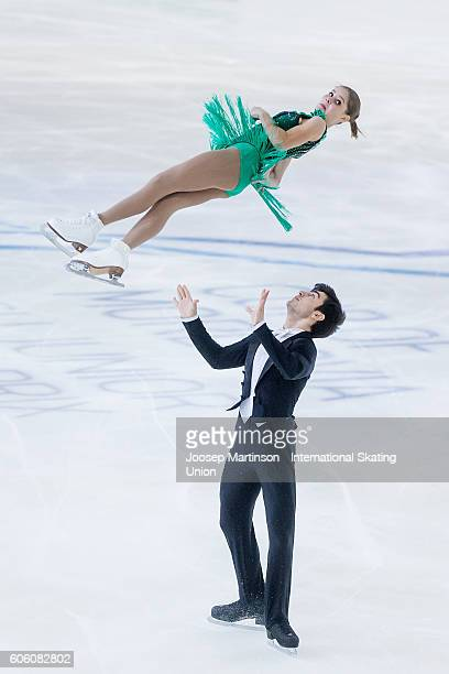 Anastasia Mishina and Vladislav Mirzoev of Russia compete during the Junior Pairs Free Skating on day two of the ISU Junior Grand Prix of Figure...