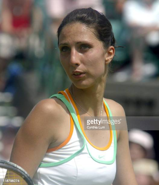 Anastasia Myskina at Wimbledon 2005 in London on June 20 2005 Anastasia Myskina defeats Katerina Bohmova 57 76 64 in the first round of the Wimbledon...