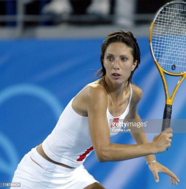 Anastasia Myskina ends the Greeks hopes for a medel in tennis defeatiing Eleni Danilidou with a score of 75 64 during the Athens 2004 Olympics Games...
