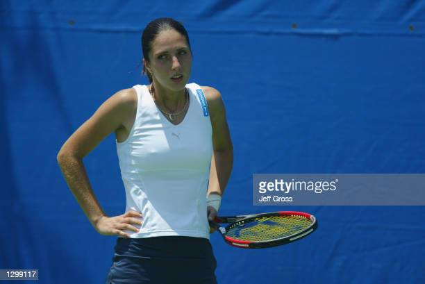 Anastasia Myskina looks on against Francesca Schiavone during the Acura Classic on July 30 2002 at the La Costa Resort and Spa in Carlsbad California...
