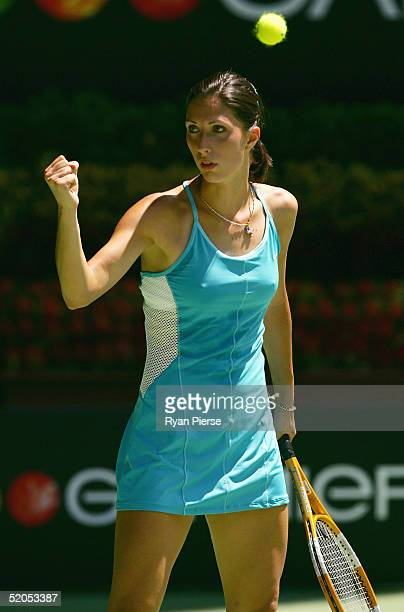 Anastasia Myskina of Russia celebrates a point against Nathalie Dechy of France during day eight of the Australian Open Grand Slam at Melbourne Park...