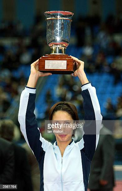 Anastasia Myskina of Russia celebrates after winning the women's final against Amelie Mauresmo of France during the ATP and WTA Kremlin Cup at the...
