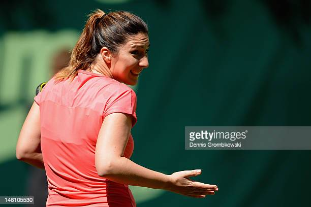Anastasia Myskina of Russia reacts during her match with Stefan Edberg of Sweden against Martina Navratilova of USA during the Gerry Weber Open...