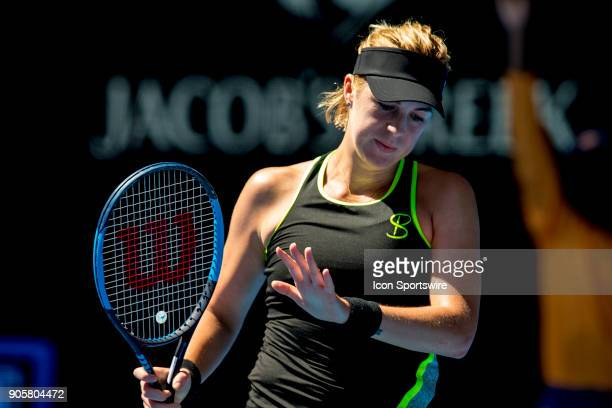 Anastasia Pavlyuchenkova of Russia apologise to her opponent in her second round match during the 2018 Australian Open on January 17 at Melbourne...
