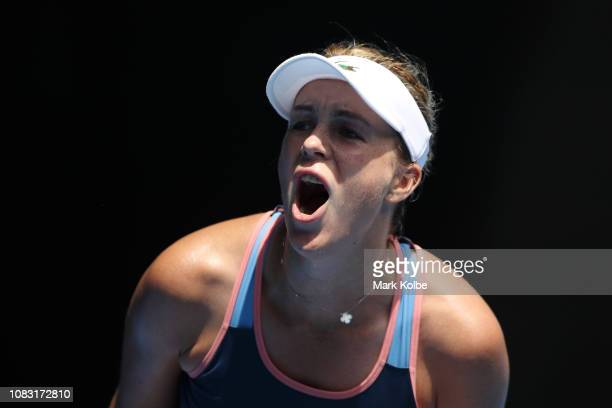 Anastasia Pavlyuchenkova of Russia celebrates a point in her second round match against Kiki Bertens of the Netherlands during day three of the 2019...