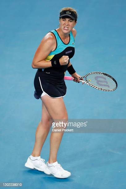 Anastasia Pavlyuchenkova of Russia celebrates after winning a point in her fourth round match against Angelique Kerber of Germany on day nine of the...