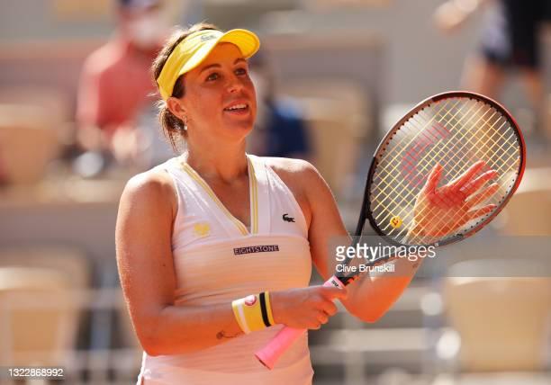 Anastasia Pavlyuchenkova of Russia celebrates after winning her Semi-Final Women's Singles match against Tamara Zidansek of Slovenia during Day...