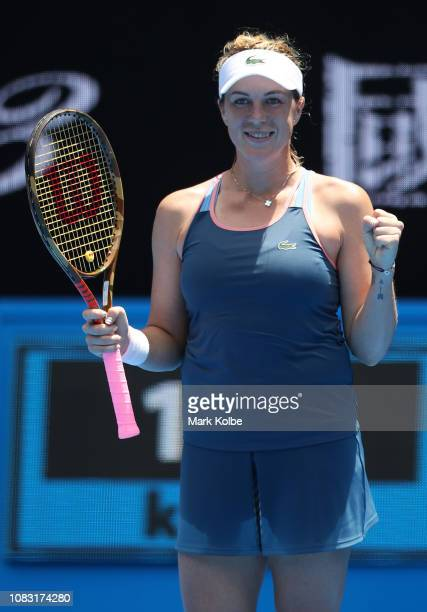 Anastasia Pavlyuchenkova of Russia celebrates after winning match point in her second round match against Kiki Bertens of the Netherlands during day...