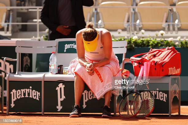 Anastasia Pavlyuchenkova of Russia celebrates as she takes a seat after winning her Semi-Final Women's Singles match against Tamara Zidansek of...
