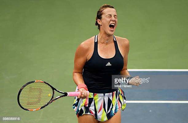 Anastasia Pavlyuchenkova of Russia celebrates her win over Kristina Mladenovic of France during her second round Women's Singles match on Day Four of...